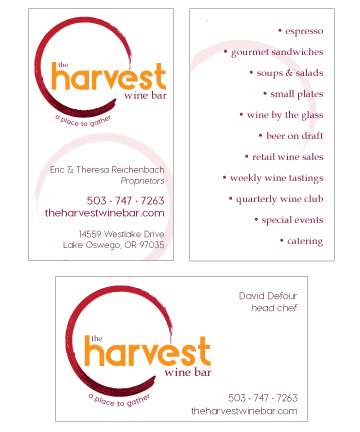 The Harvest Wine Bar business cards