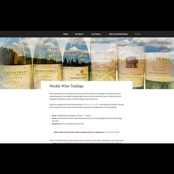 Wine Tastings page
