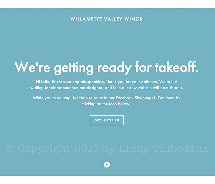 Willamette Valley Wings landing page