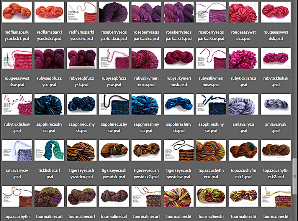 Screenshot of some of my hand-dyed yarn files